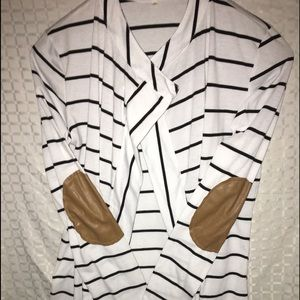 XL Black/White Stripe Cardigan w/patch elbow